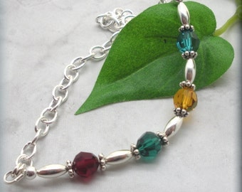 Sterling Silver Mothers Day Birthstone Bracelet, Family Jewelry, Sterling Silver, Crystal Bracelet, Mommy Jewelry, Grandmother