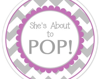 Baby Shower About to Pop labels, Gray and Purple Chevron, About to Pop Stickers, Baby Shower Labels