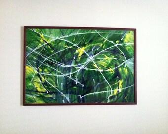 Abstract Acrylic on Framed Plexiglass