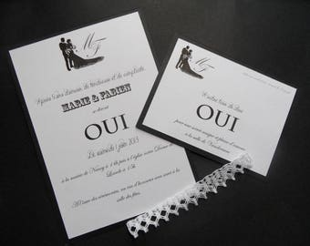 """""""chic and lace"""" wedding invitation black and white"""