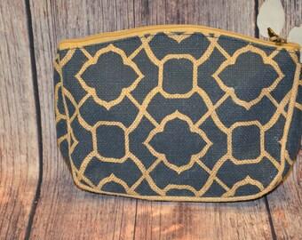 Navy Burlap Trellis Pattern Cosmetic Bag, Monogram Burlap Cosmetic Bag, Personalized Burlap Cosmetic Bag, Monogram Burlap Makeup Bag