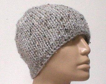 Gray marble tweed beanie hat, skull cap, winter hat, gray hat, womens mens knit hat, toque, gray beanie, ski skateboard, gray knit hat - V4
