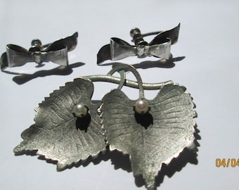 Vintage Sterling Silver Carl Art Pearl Leaf Brooch with Sterling Bow Earrings -- Free Shipping Always