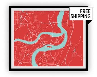 Chongqing Map Print - Choose your color