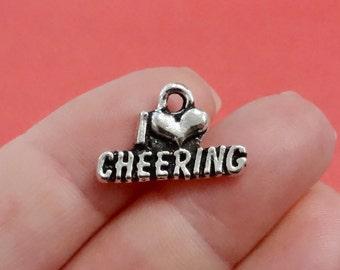 "10, I ""Heart"" CHEERING, Love Cheer Leading, Cheerleading, Cheerleader, Cheer Charms  20x16x2mm, Hole Approx 2mm"
