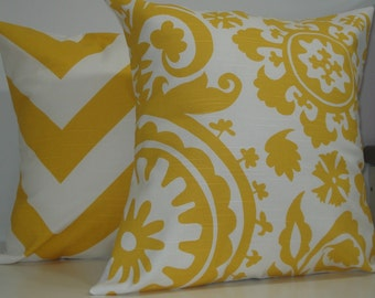 TWO New 18x18 inch Designer Handmade Pillow Case in yellow