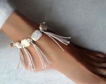 Boho Fring Anklet, Turquoise Stone Anklet, Boho Wedding Anklet, Pearl Anklet, 1 Piece