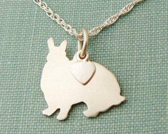 Mini Rex Rabbit Necklace, Bunny Sterling Silver Personalize Pendant, Silhouette Charm, Rescue Shelter