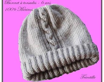 Twisted 100% hand knit Merino Beanie