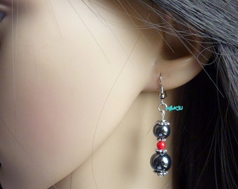 Earrings with hematite and coral beads