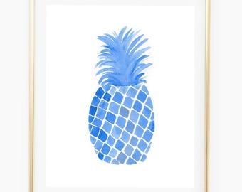 Blue Pineapple - Watercolor Art Print, pineapple decor, tropical print, trending art, blue painting