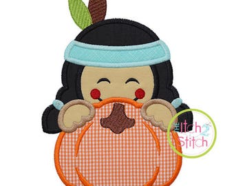 Indian Boy Pumpkin Peeker Applique for Machine Embroidery (Shown with our Clubhouse Monogram NOT included) INSTANT DOWNLOAD