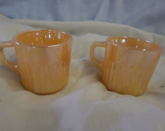 """Pair of Two Vintage Fire King Peach Lustre Demitasse Espresso 2"""" Small Cups"""