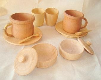 Play kitchen wood set. Wooden toys.
