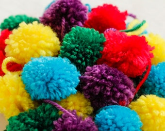 Yarn Pom Poms 25 Hand Made
