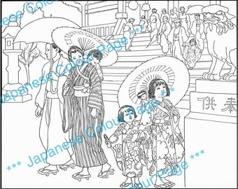 Beautiful Vintage Japanese Coloring Page. Young Family Outside The Big Temple. Lovely Restored Illustration to Download.