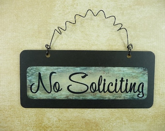 NO SOLICITING SIGN Wooden Metal Cute Small Wire Hanging Front Door Sign No Solicitation Black Green