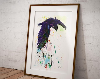 Chromatic, Crow Ink and Watercolour Art print