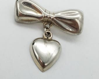 Signed Taxco Mexico Bow and Heart Dangle Sterling Silver Brooch