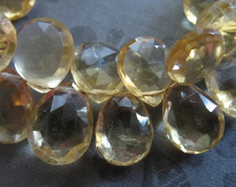 CITRINE Pear  Briolettes, Luxe AAA, 9-11 mm Soft Medium Yellow .. brides bridal. november birthstone 911
