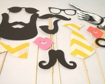 Vintage Look Chevron and Beard Photo Booth Props - 12 Piece Wedding Photo Props