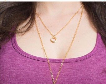 Gold Ring Necklace, Gold Necklace, Gold Layering Necklace
