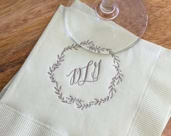 Garden Custom Monogram Napkins | Leafy Wreath | Wedding or Personalized Home Gift | Darby Cards