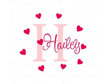 Initial and Name Wall Decal with Hearts - Heart Wall Decals with Monogram Name Decal for Girls Nursery or Bedroom INA0055