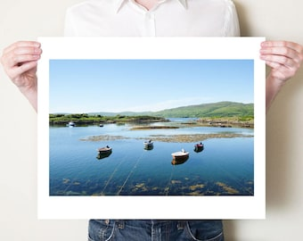 Coastal landscape photography print, Isle of Mull fishing boats, Scotland landscape. Scottish wall art, fine art photograph, seaside art