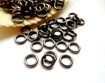 50/100 Gunmetal Jump Rings 6mm, Closed Loop - 10-GM-6CL