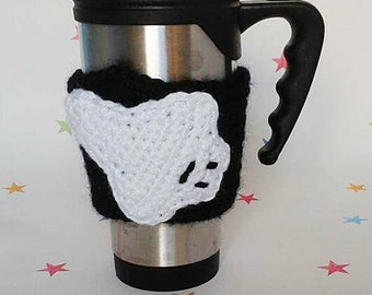 Ghost mug sleeve, Ghost Hunter Gift, Crochet Cup Cosy, Coffee Sleeve, Reusable Mug Cover, Halloween Party, Silhouette Design, Cup Accessory