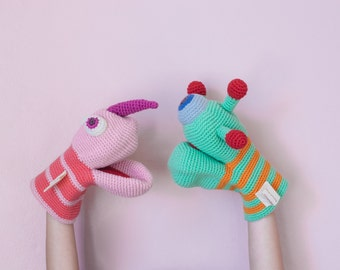 Green monster hand puppet, crochet amigurumi toy