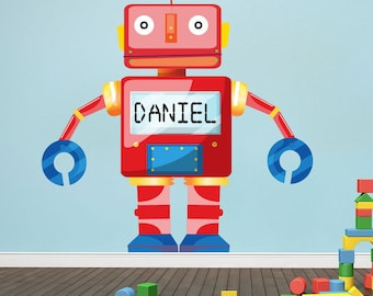 Personalized Robot Wall Decal, Personalized Boy's Room Robot Wall Decal, Robot Wall Art Sticker with Name Personalization, Kids' Robot, n61