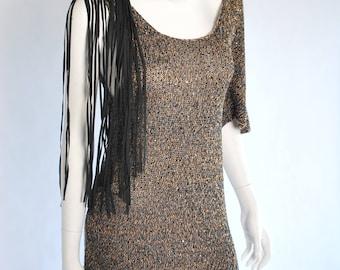 Designer Party Dress/ Lady Dress/Leather Fringes/ Dolman Sleeve Sweater/ Vintage Designer Dress/ Bohemian Dress/ Swetshirt Tunic/ Cardigan