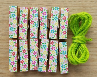 Summer Flowers Clips w Twine for Photo Display - Clothesline - Chunky Little Wooden Clothespins Set of 12 - Gifts For Her - Ready to Ship