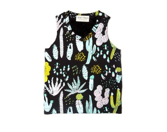 Cactus Tank Top in Dusty Pink, Yellow Ochre, Blue Mint and Green on Black