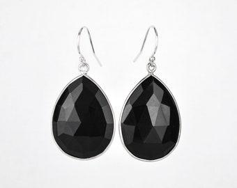 Black Onyx earrings, Gold Framed Stone, Gemstone earrings Gold earrings Bridesmaid earrings Gift For Her Teardrop Stone earrings Mothers day