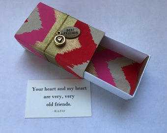 Old Friends Message Box with fabric gift bag and gold heart charm