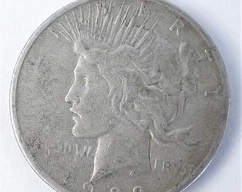 1922S Vintage Silver Peace One  Dollar Collectible Coin, 1922 S Coin, San Francisco Mint Mark