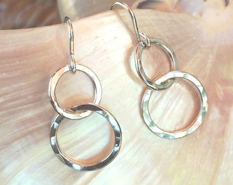 Double Tiered Hoops in Fine Silver - small
