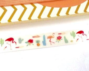 Flamingo washi tape, flamingo tape, flamingo stationary, flamingo gift-wrapping, cactus washi tape, pineapple washi tape, tropical washi