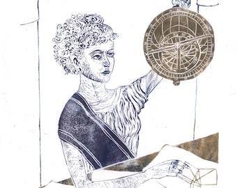 Linocut History of Math and Astronomy - Hypatia - Ancient Classical Woman Mathematician Lino Block Portrait, Woman in STEM, Hypatia