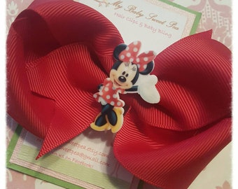 Girl hair clips, minnie hair clip, hairbow, girl hair bow
