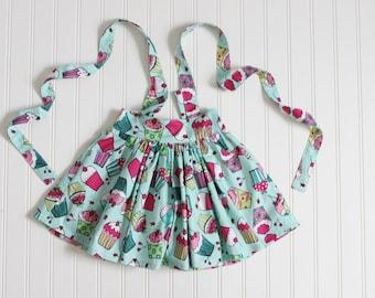 SALE 2T and 3T Cupcake Suspender Skirt, Toddler Girl Suspender Skirt, Birthday RTS
