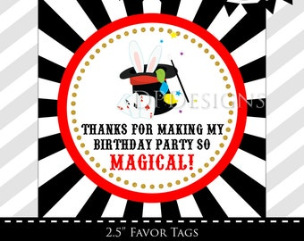 Magic Party Favor tags - INSTANT DOWNLOAD