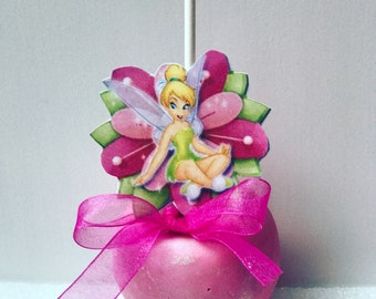 6 Chocolate Covered Apples -Tinkerbell-Birthday Favors-Dessert Table Treats