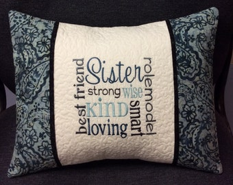 """CUSTOM SISTER 16""""x12"""" embroidered, personalized quilted pillow COVER; sister gift, sister pillow, pillow sham, custom embroidered gift"""