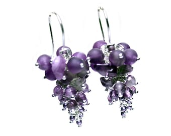Earrings Classic – Amethyst – Glass Pearls – Sterling silver 622