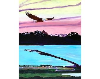 Bald Eagle Painting, Alaska Living Room Painting, Homer Spit, Wedding Gift, Kachemak Bay Art, Alaska Mountains, Anniversary Gift for Wife