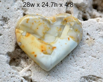 Willow creek jasper heart cabochon. pastel yellow and green. 28 x 24.7 x 4.8 mm